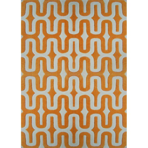 Hazeltine Hand-Tufted Orange Indoor Area Rug by Brayden Studio