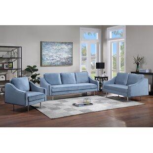 Amberrae 3 Piece Velvet Living Room Set by Orren Ellis