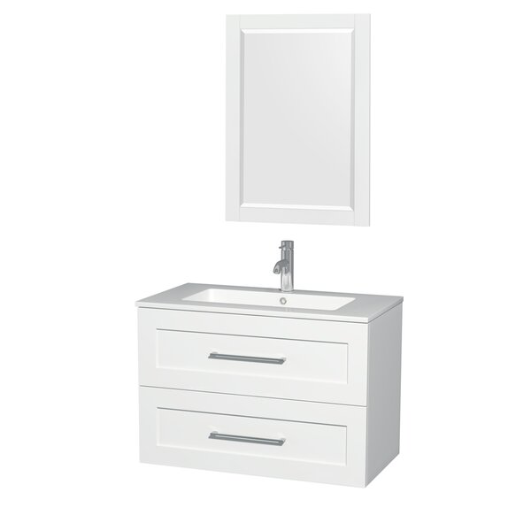 Olivia 36 Single Glossy White Bathroom Vanity Set with Mirror by Wyndham CollectionOlivia 36 Single Glossy White Bathroom Vanity Set with Mirror by Wyndham Collection