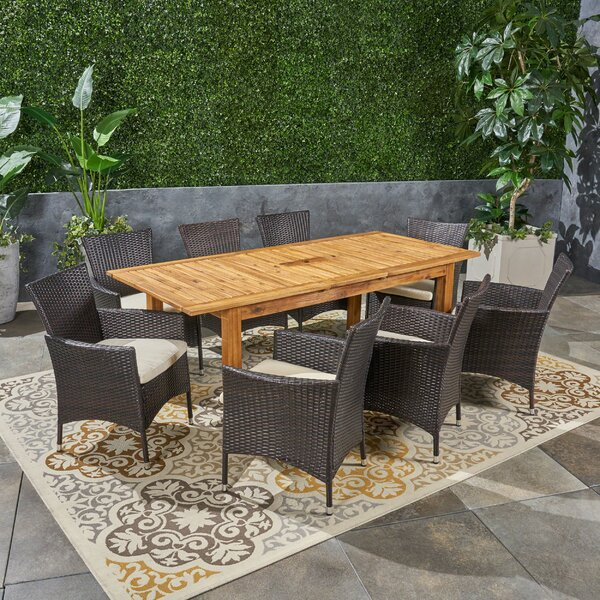 Dibble Outdoor Expandable 9 Piece Dining Set with Cushions