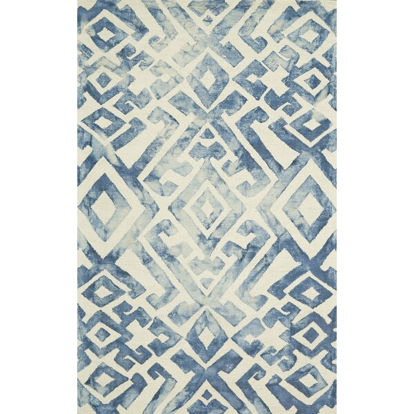 Frederick Hand-Hooked Wool Midnight Blue Area Rug by Ebern Designs