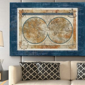Blueprint of the World by Carol Robinson Graphic Art on Wrapped Canvas by Wexford Home