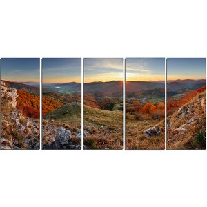 Majestic Sunset in Mountain Landscape 5 Piece Wall Art on Wrapped Canvas Set by Design Art