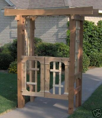 Deluxe Japanese Wood Arbor with Gate by Threeman Products