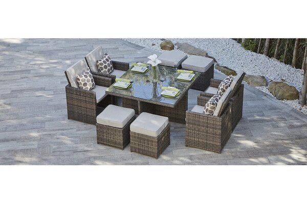 Gretel 9 Piece Dining Set with Cushion by Red Barrel Studio