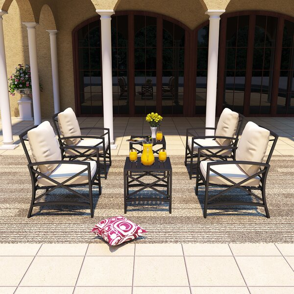Remus 6 Piece Multiple Chairs Seating Group with Cushions by Longshore Tides