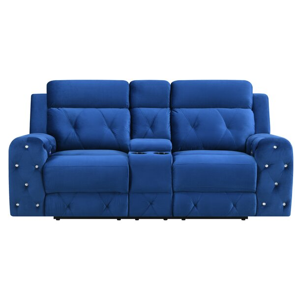 Leflore Jewel Embellished Power Console Reclining Loveseat by Mercer41