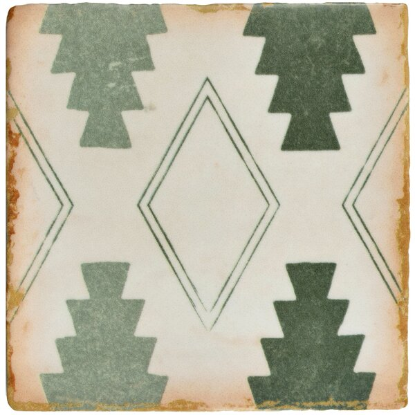 Arquivo 4.88 x 4.88 Ceramic Field Tile in Green/White by EliteTile