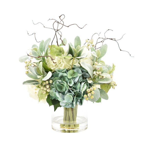 Hydrangeas Floral Arrangement in Glass Vase by August Grove
