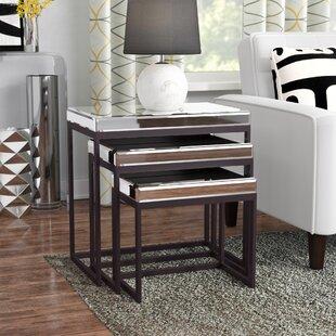 Charla Smoked Mirrored Metal Base 3 Piece Nesting Tables
