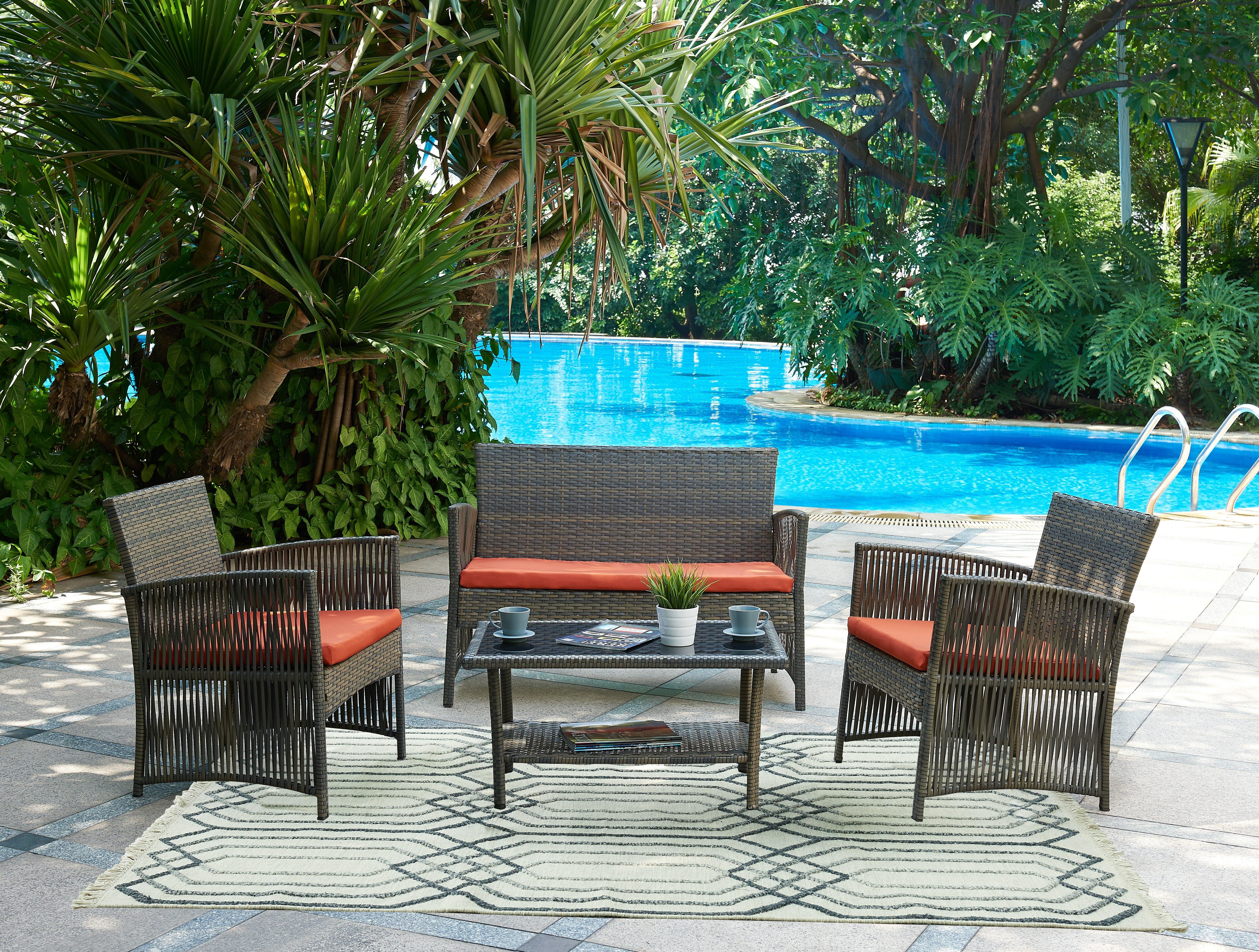 Beachcrest Home Cerys 4 Piece Sofa Set With Cushions U0026 Reviews | Wayfair
