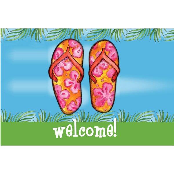 Welcome Flip Flops Doormat by East Urban Home