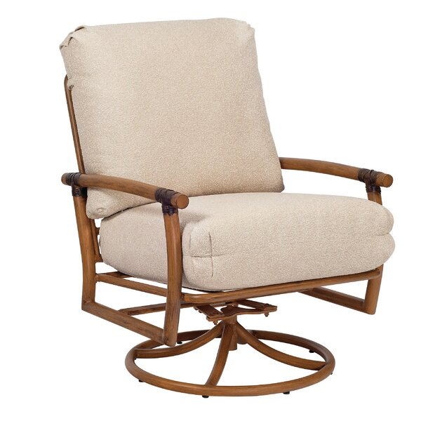 Glade Isle Swivel Rocking Patio Chair with Cushions by Woodard