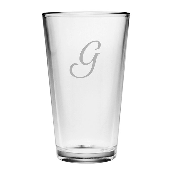 Script Monogram Pint Glass (Set of 4) by Susquehanna Glass