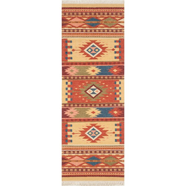 Lodge Handwoven Wool in Beige/Red Area Rug by Continental Rug Company
