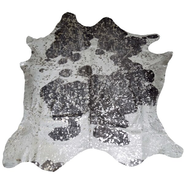 Designer Cowhides Silver Acid Wash on Black/White Area Rug by Trophy Room Stuff
