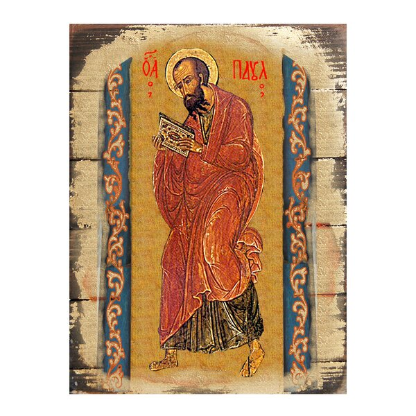 Inspirational Icon Saint Paul Icon Wooden Painting by G Debrekht
