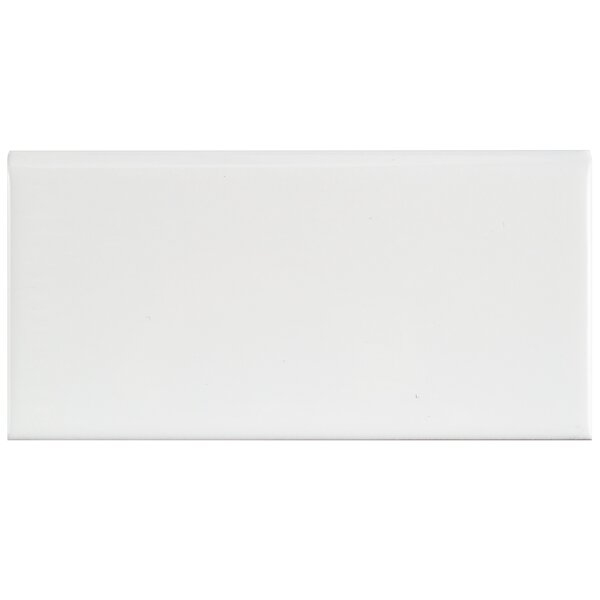 Prospect 6 x 3 Ceramic Bullnose Tile Trim in Glossy White (Set of 20) by EliteTile