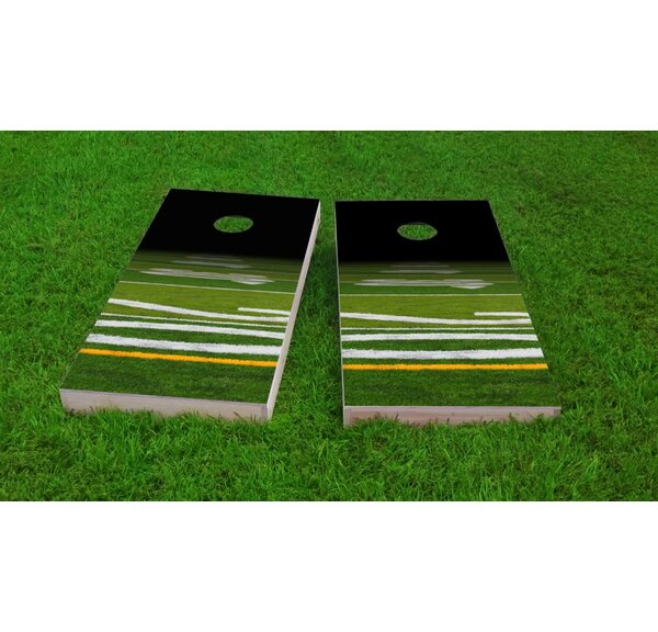 Football Field Light Weight Cornhole Game Set by Custom Cornhole Boards