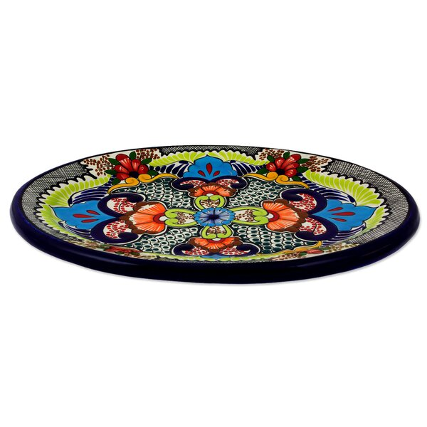 Authentic Signed Hand-Crafted Oval Platter by Novica