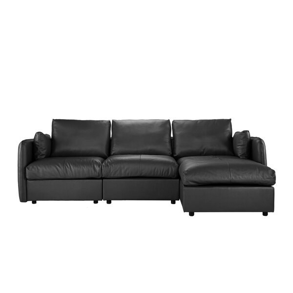 Kircher Leather Sectional by Alcott Hill
