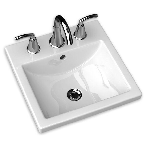 Studio Ceramic Square Drop-In Bathroom Sink with Overflow by American Standard