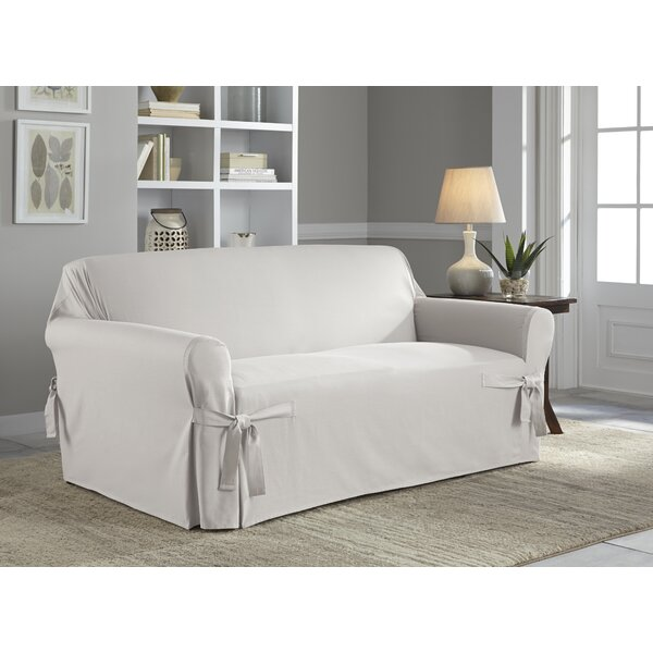 Relaxed Fit Box Cushion Loveseat Slipcover By Serta