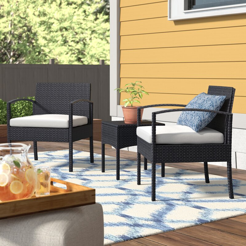 Howze 3 Piece Conversation Rattan Seating Group With Cushions