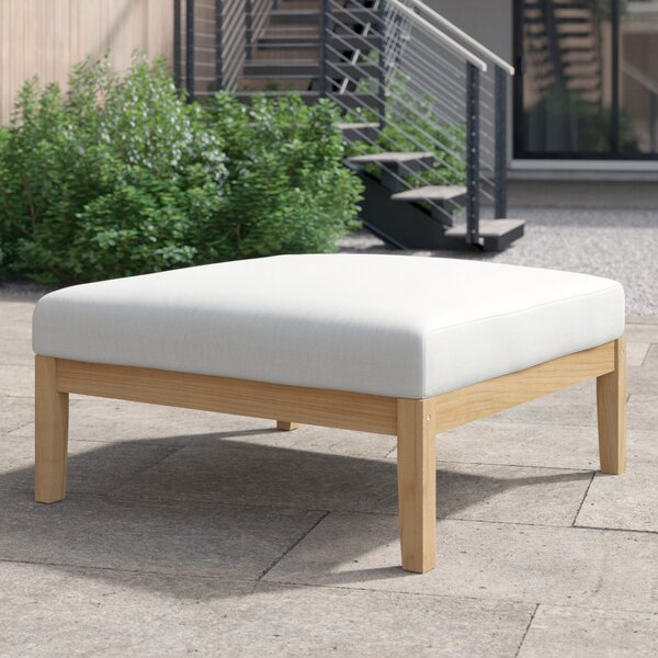 Annalese Outdoor Teak Ottoman with Cushions by Foundstone