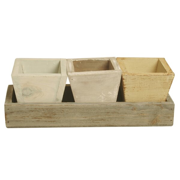 Eason Distressed 4 Piece Wood Pot Planter Set by August Grove