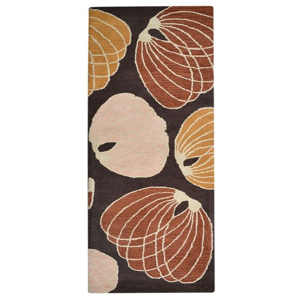 Creager Hand-Tufted Wool Brown/Red Area Rug by Winston Porter