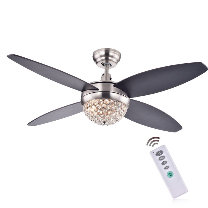 Rosdorf park 52 aurora 2 light wood crystal 4 blade ceiling fan 52 aurora 2 light wood crystal 4 blade ceiling fan with remote mozeypictures Gallery
