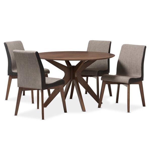 Kimberly Mid-Century Modern Wood Round 5 Piece Dining Set by Wholesale Interiors