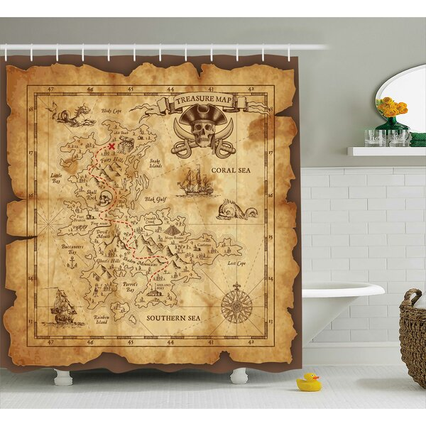 Susanna Old Paper Treasure Map Shower Curtain by Zoomie Kids