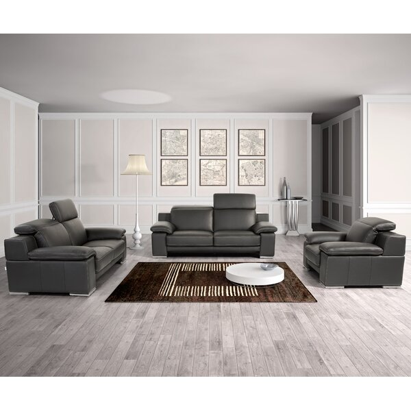 Cohan 3 Piece Leather Living Room Set by Orren Ellis