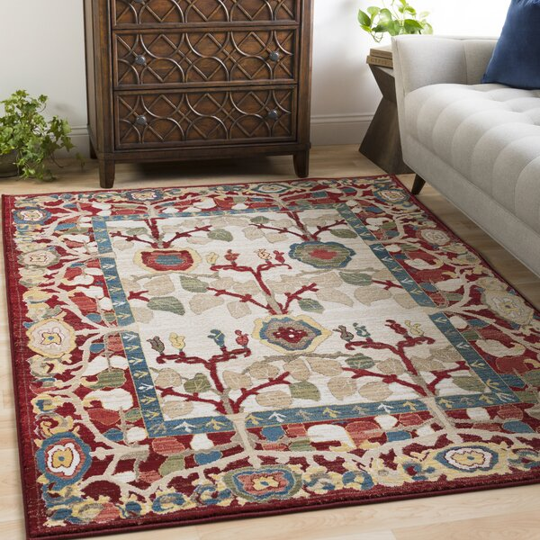 Arbouet Floral Dark Red/Cream Area Rug by Charlton Home