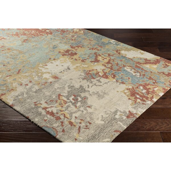 Randall Abstract Hand-Hooked Wool Pale Blue/Gray Area Rug by Bungalow Rose