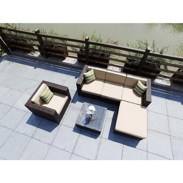 Hideaway 6 Piece Rattan Sectional Seating Group with Cushions