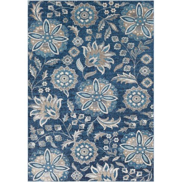Niesen Floral Navy/Light Blue Area Rug by Winston Porter