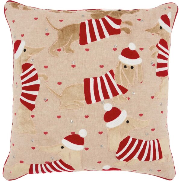 Cyrus Candy Cane Dachshund Cotton Throw Pillow by The Holiday Aisle