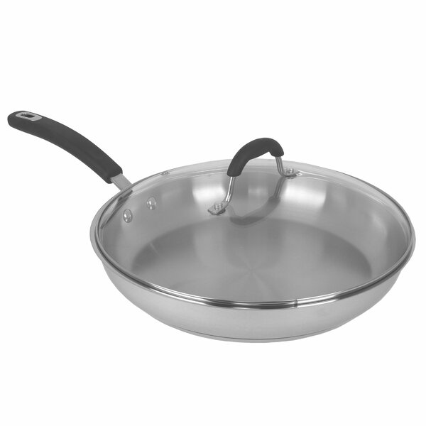 12 Covered Stainless Steel Frying Pan/Skillet with Lid by Oneida