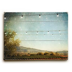 Starlit Vineyard by Jenndalyn Graphic Art on Wood by Beachcrest Home