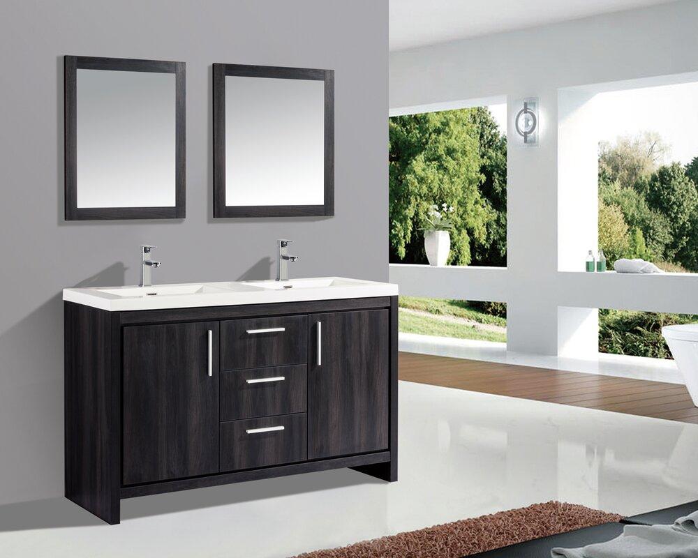 59 bathroom vanity double sink. Peiffer 59  Double Sink Bathroom Vanity Set With Mirror Orren Ellis