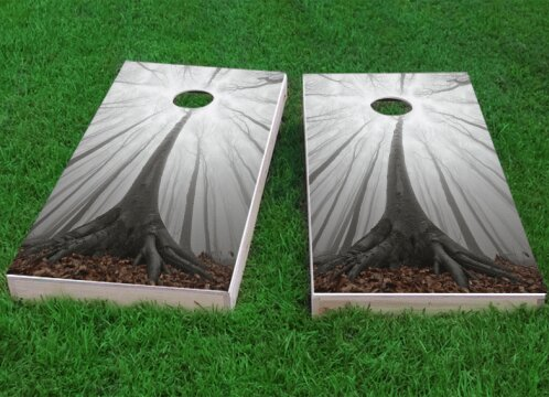 Trees in a Foggy Forest Cornhole Game (Set of 2) by Custom Cornhole Boards