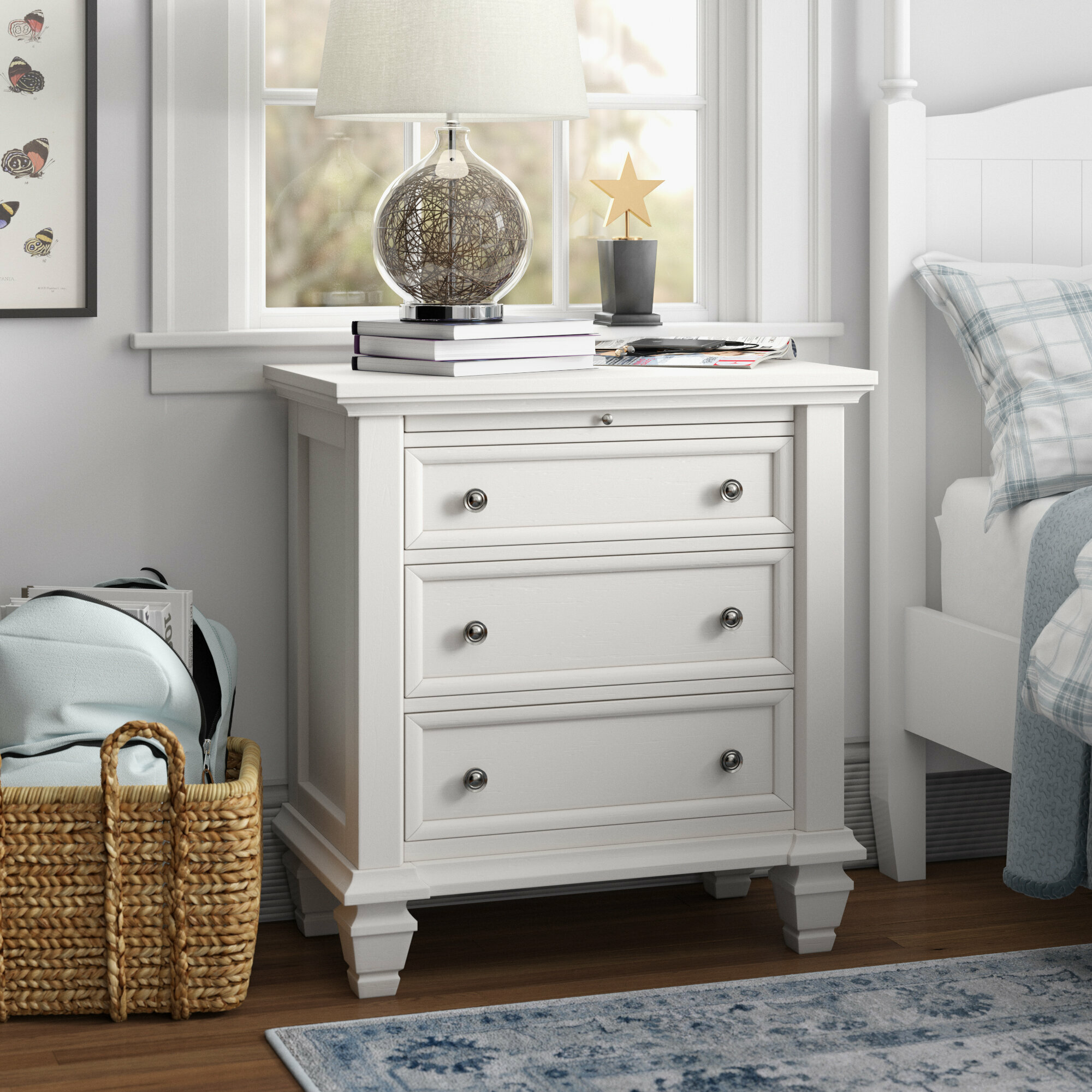 Three Posts Teen Magness 3 Drawer Nightstand In White Reviews Wayfair