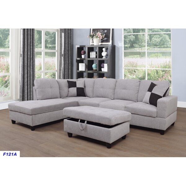 Home & Outdoor Canika 3 Pieces Velvet Sectional With Ottoman