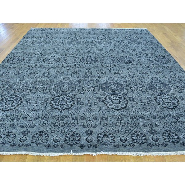 One-of-a-Kind Bearfield Geometric Hand-Knotted Grey Wool Area Rug by Isabelline