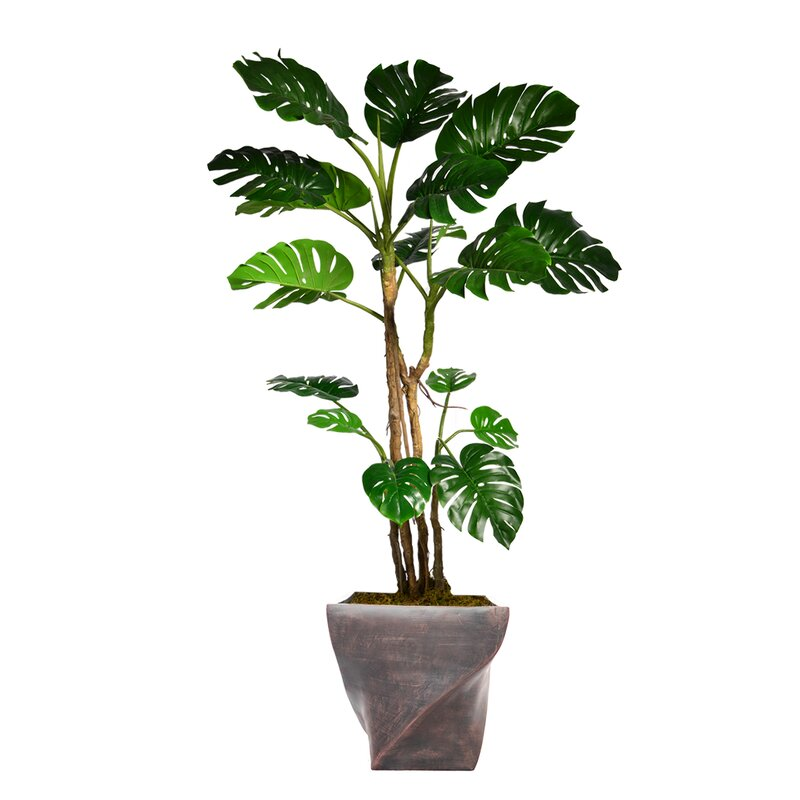 17 Stories Monstera Artificial Home Dcor Floor Foliage Tree in Planter