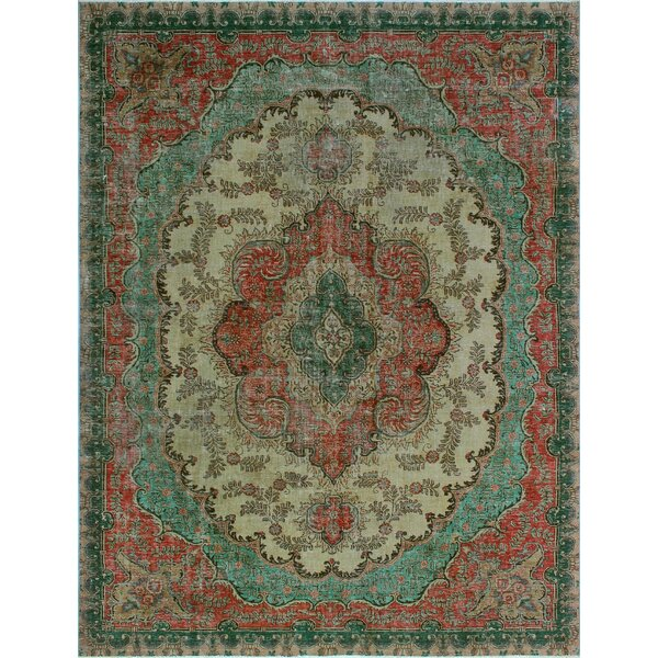 One-of-a-Kind Alvares Distressed Hand-Painted Hand-Knotted Wool Green/Beige Area Rug by Isabelline