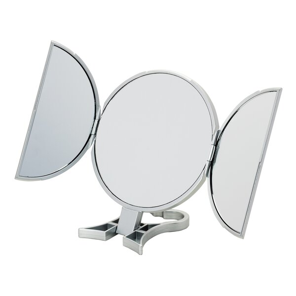 3-Way Silver Round Vanity Mirror by Danielle Creations
